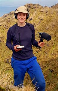 Marie-Helene Burle, biologist for the RSPB and the University of Cape Town, recording in Gough Island with the Stereo Dat Mic (without the dish attached)