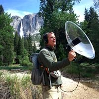 "Josh Helling recording with a Telinga foldable 22"" dish in Yosemite National Park. The Telinga PRO-8 handle features a very useful mono/stereo switch and highpass filter located at thumb position. Changing microphone inside the dish is done very quickly without the need of any tools."
