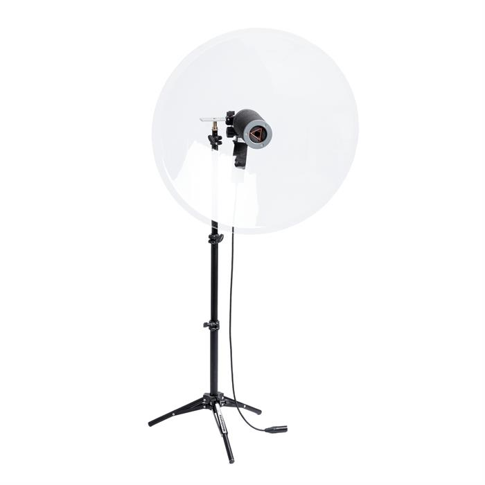 The Telinga Universal MK2 - a complete parabolic dish kit for recording with your own collection of microphones, facing the dish or mounted outwards.